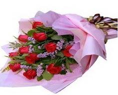 11 adet kirmizi güllerden görsel buket  Aksaray çiçek gönderme sitemiz güvenlidir