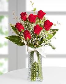 Cam vazoda 7 adet kırmızı gül  Aksaray çiçek , çiçekçi , çiçekçilik
