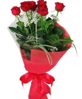 5 adet kırmızı gülden buket  Aksaray kaliteli taze ve ucuz çiçekler