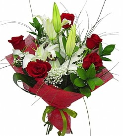 1 dal kazablanka 5 kırmızı gül buketi  Aksaray kaliteli taze ve ucuz çiçekler