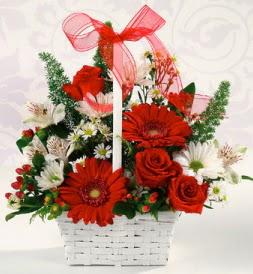 Karışık rengarenk mevsim çiçek sepeti  Aksaray internetten çiçek siparişi