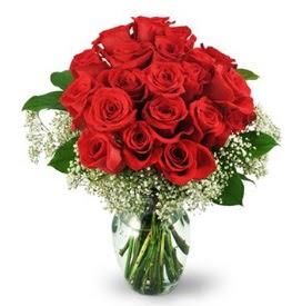 25 adet kırmızı gül cam vazoda  Aksaray çiçek , çiçekçi , çiçekçilik