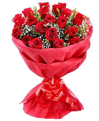 21 adet kırmızı gülden modern buket  Aksaray çiçek gönderme