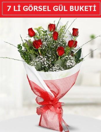 7 adet kırmızı gül buketi Aşk budur  Aksaray çiçek satışı