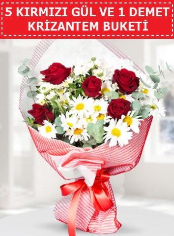 5 adet kırmızı gül ve krizantem buketi  Aksaray çiçek satışı