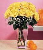 Aksaray internetten çiçek satışı  9 adet sari güllerden cam yada mika vazo