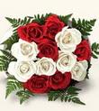 Aksaray çiçek , çiçekçi , çiçekçilik  10 adet kirmizi beyaz güller - anneler günü için ideal seçimdir -