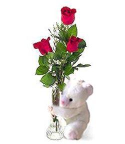 oyuncak ve 3 adet gül  Aksaray çiçek siparişi sitesi