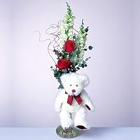2 adet gül ve panda özel  Aksaray çiçekçi mağazası