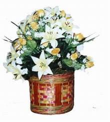 yapay karisik çiçek sepeti   Aksaray cicekciler , cicek siparisi