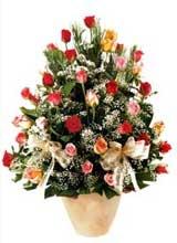 91 adet renkli gül aranjman   Aksaray çiçek gönderme sitemiz güvenlidir