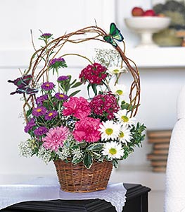 Aksaray cicekciler , cicek siparisi  sepet içerisinde karanfil gerbera ve kir çiçekleri