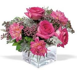 Aksaray cicekciler , cicek siparisi  cam içerisinde 5 gül 7 gerbera çiçegi