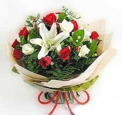 güller ve kazablanklardan görsel bir buket  Aksaray internetten çiçek satışı