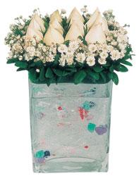 Aksaray çiçekçi mağazası  7 adet beyaz gül cam yada mika vazo tanzim