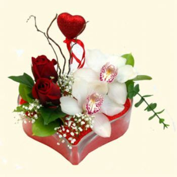 Aksaray hediye sevgilime hediye çiçek  1 kandil orkide 5 adet kirmizi gül mika kalp