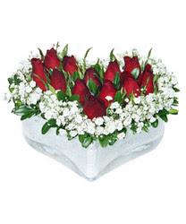 Aksaray internetten çiçek siparişi  mika kalp içerisinde 9 adet kirmizi gül