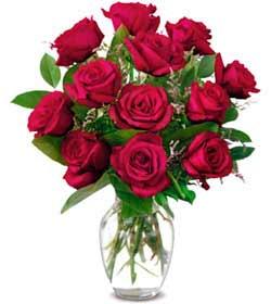 Aksaray online çiçek gönderme sipariş  1 düzine kirmizi gül sevenlere özel vazo gülleri