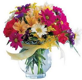 Aksaray internetten çiçek satışı  cam yada mika içerisinde karisik mevsim çiçekleri