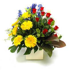 Aksaray online çiçek gönderme sipariş  9 adet gül ve kir çiçekleri cam yada mika vazoda