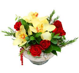 Aksaray çiçek gönderme  1 adet orkide 5 adet gül cam yada mikada