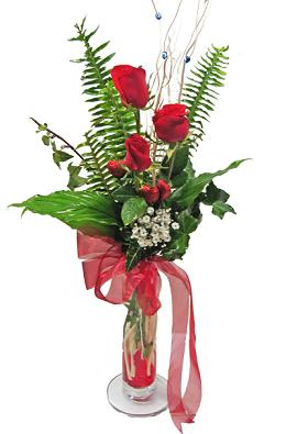 Çiçek gönderin cam vazoda 3 gül çiçekleri  Aksaray çiçek siparişi sitesi