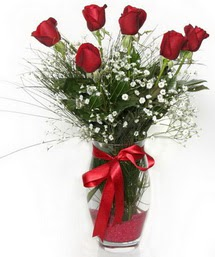 7 adet gülden cam içerisinde güller  Aksaray 14 şubat sevgililer günü çiçek
