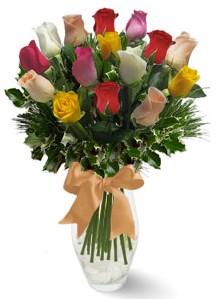 15 adet vazoda renkli gül  Aksaray internetten çiçek satışı
