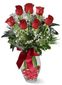 7 adet vazoda gül  Aksaray internetten çiçek satışı  kirmizi gül