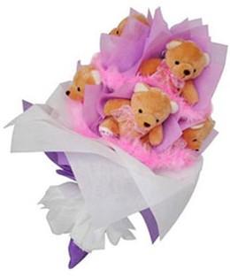 9 adet ayiciktan buket  Aksaray hediye sevgilime hediye çiçek