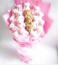 17 adet pelus ayicik buketi  Aksaray İnternetten çiçek siparişi