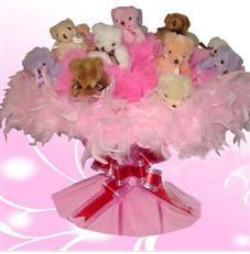 11 adet pelus ayicik buketi  Aksaray çiçek satışı