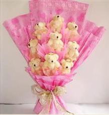 9 adet pelus ayicik buketi  Aksaray anneler günü çiçek yolla