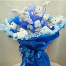7 adet pelus ayicik buketi  Aksaray çiçek , çiçekçi , çiçekçilik