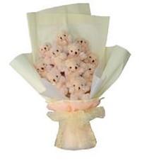 11 adet pelus ayicik buketi  Aksaray ucuz çiçek gönder