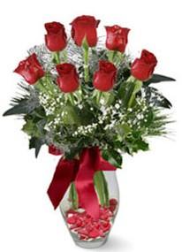 Aksaray internetten çiçek siparişi  7 adet kirmizi gül cam vazo yada mika vazoda