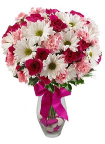 Aksaray çiçek siparişi sitesi  Karisik mevsim kir çiçegi vazosu