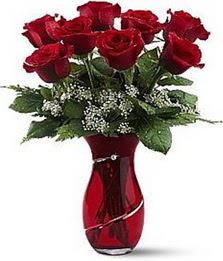 Vazo içinde 8 adet kirmizilar içinde güller  Aksaray internetten çiçek siparişi