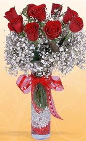 9 adet kirmizi gül cam yada mika vazoda  Aksaray çiçek mağazası , çiçekçi adresleri