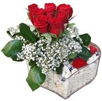 Aksaray güvenli kaliteli hızlı çiçek  kalp mika içerisinde 7 adet kirmizi gül