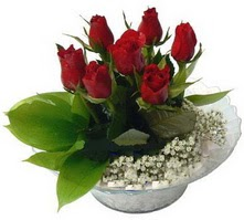 Aksaray internetten çiçek satışı  cam yada mika içerisinde 5 adet kirmizi gül