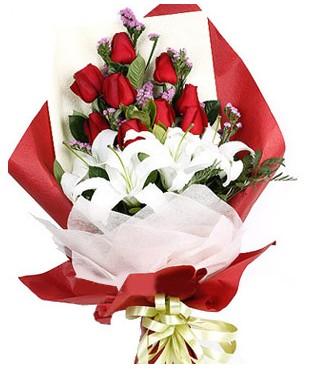 Aksaray çiçekçiler  1 dal kazablankaa 9 adet kırmızı gül buketi