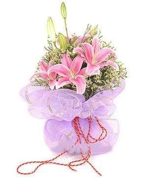 3 dal kazablanka görsel buketi  Aksaray internetten çiçek satışı