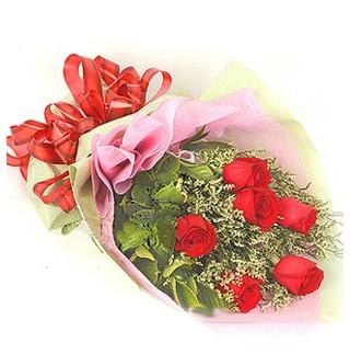 Aksaray çiçek , çiçekçi , çiçekçilik  6 adet kırmızı gülden buket