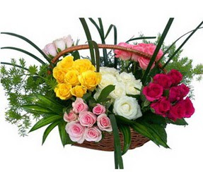 Aksaray ucuz çiçek gönder  35 adet rengarenk güllerden sepet tanzimi