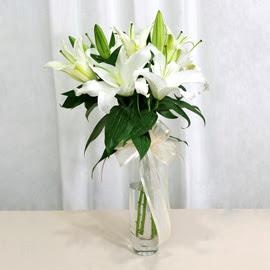 Aksaray anneler günü çiçek yolla  2 dal kazablanka ile yapılmış vazo çiçeği