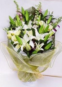Aksaray çiçek servisi , çiçekçi adresleri  3 adet kazablankalardan görsel buket çiçeği