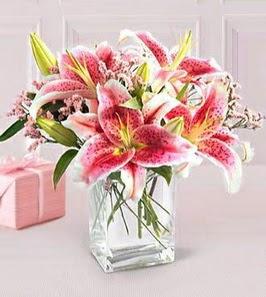 2 dal kazablanka görsel vazosu  Aksaray çiçek siparişi sitesi