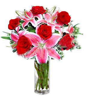 Aksaray çiçek yolla  1 dal cazablanca ve 6 kırmızı gül çiçeği