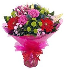 Karışık mevsim çiçekleri demeti  Aksaray online çiçek gönderme sipariş